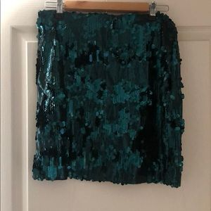 NWT Emerald green Francesca's sequin skirt